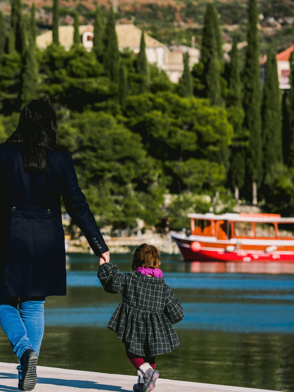 The Cavtat Harbor in Croata is a great place to take some family vacation photos.