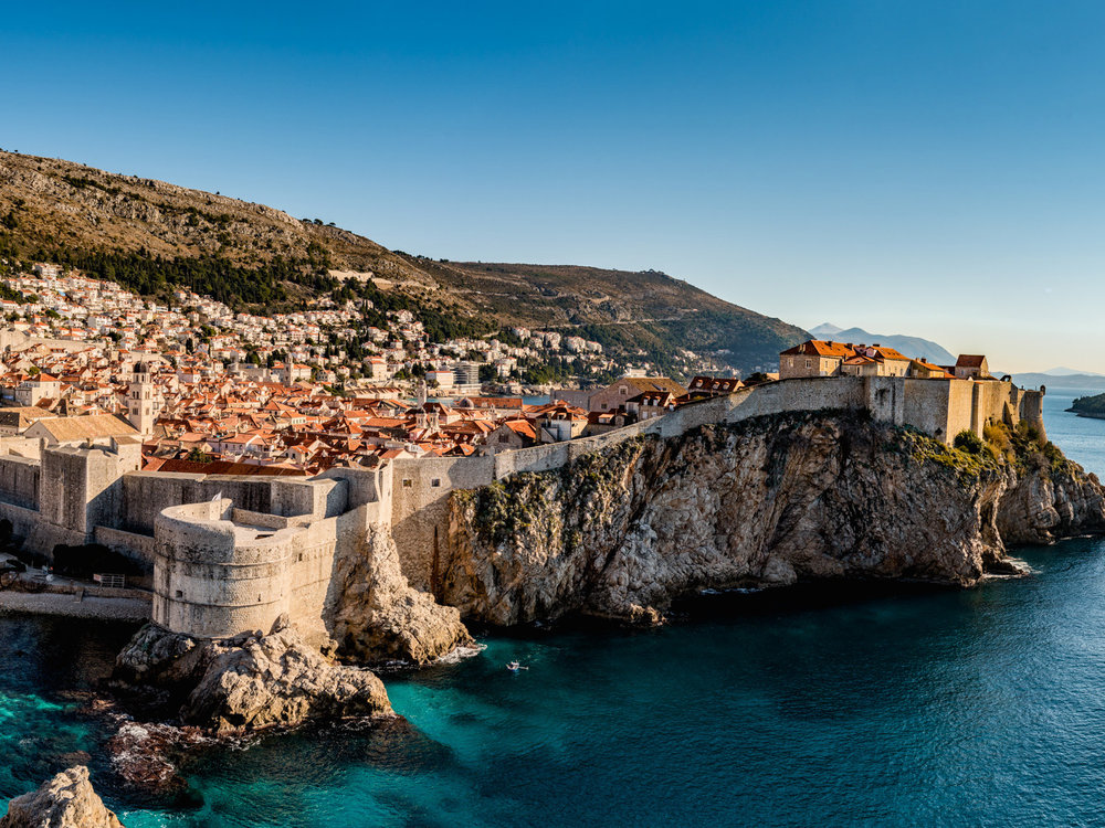 The beautiful city walls of Dubrovnik, Croatia as seen from fort lovrijenac.