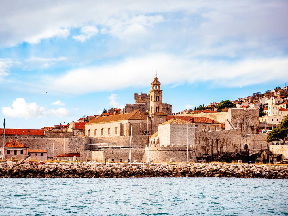 The view of the old town from a tour boat near Dubrovnik, Croatia.