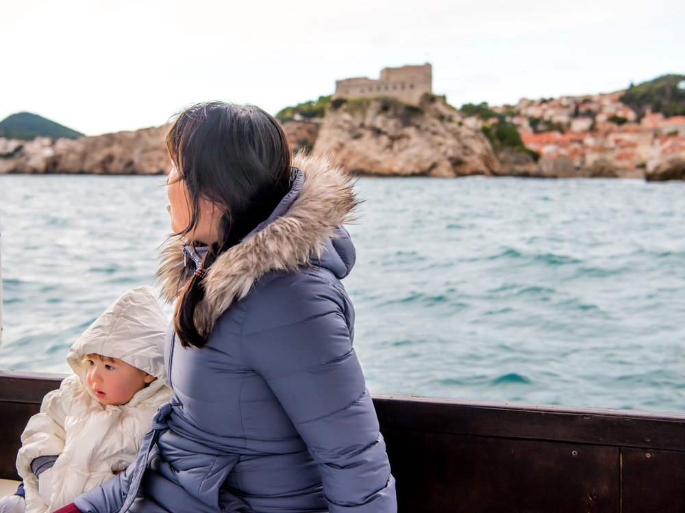 Riding on a tour boat that departed from the harbor by the old town in Dubrovnik, Croatia.