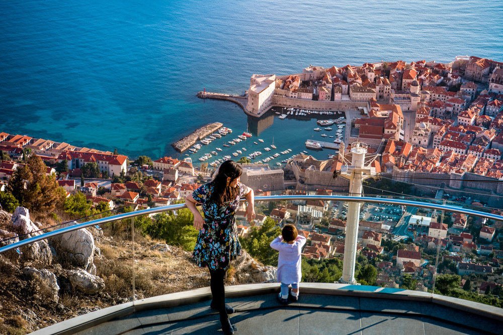 looking down on the harbor in the old town of Dubrovnik, Croatia.