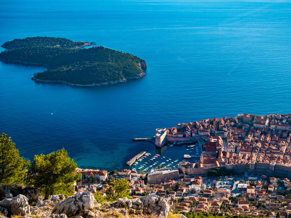 Dubrovnik croatia's old town and harbor, viewed from the mountaintop.