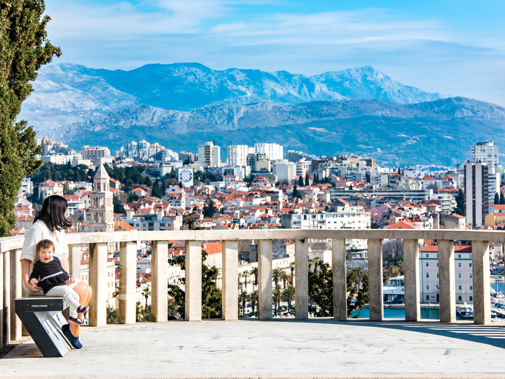 The view of Split Croatia from the vista at the entrance of Marjan Park.