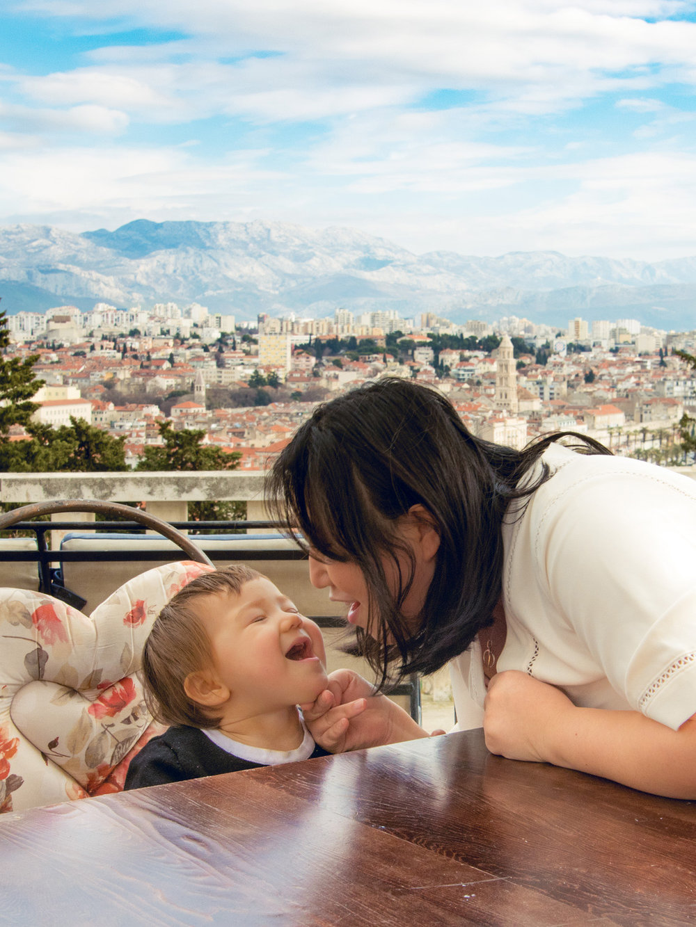 Enjoying family times and great views of Split Croatia at Vidilica Cafe.