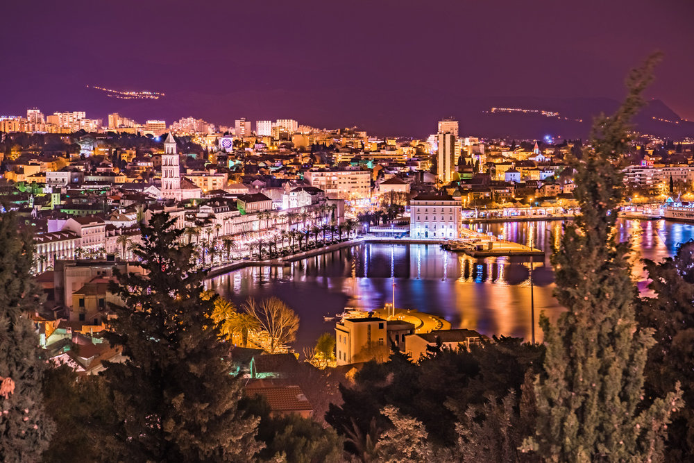 The view of Split, Croatia at night from Marjan Park.