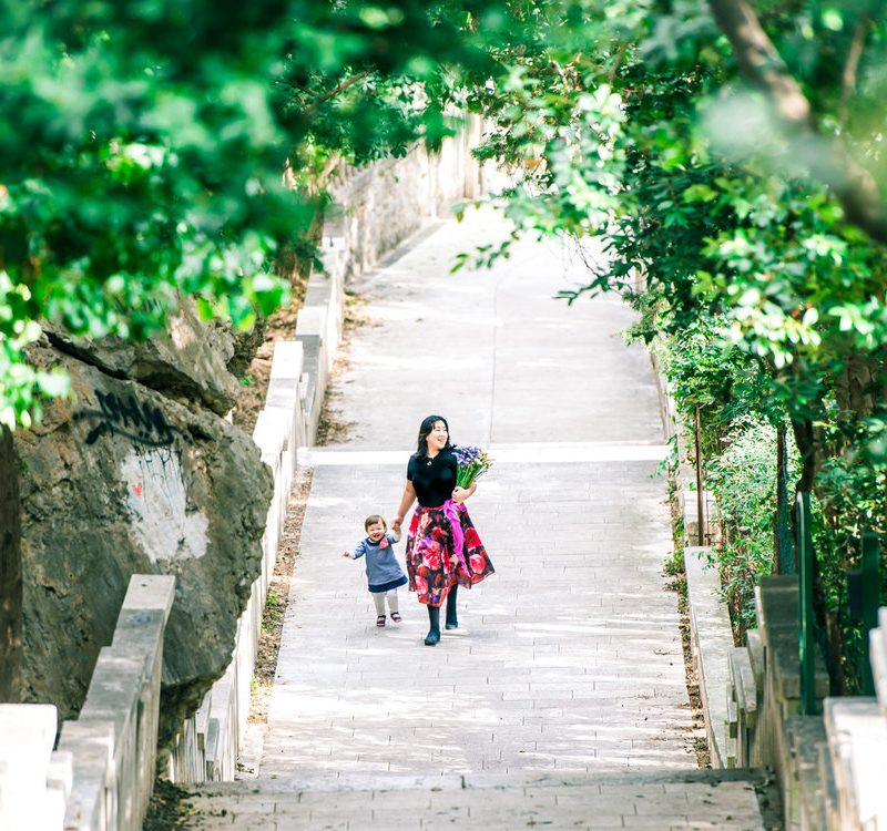 Walking up the stairs toward Marjan Park in Split, Croatia.