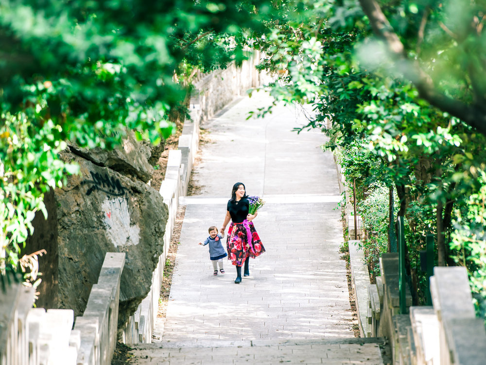 The beautiful path that leads to the entrance of Marjan Park in Split, Croatia.