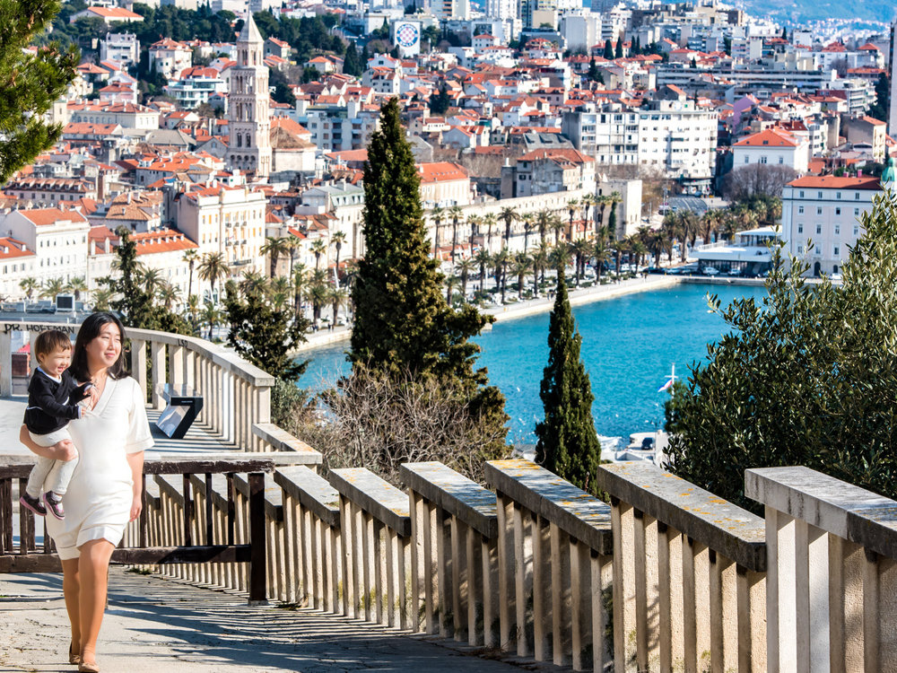 The ramp leading into Marjan Park, with Split, Croatia in the background.