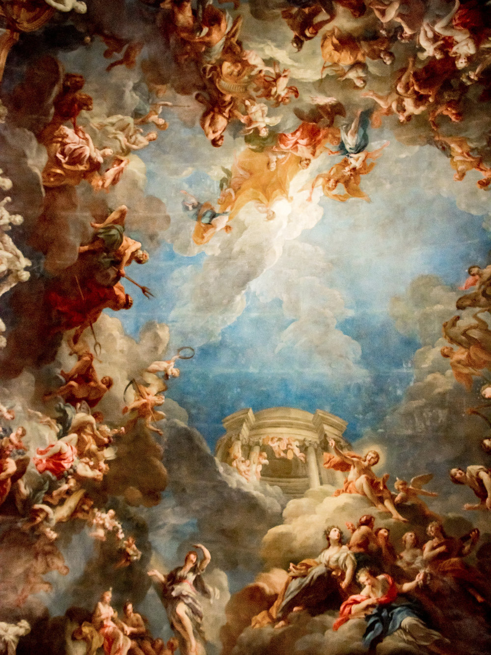 A painting on the palace ceiling in Versailles.