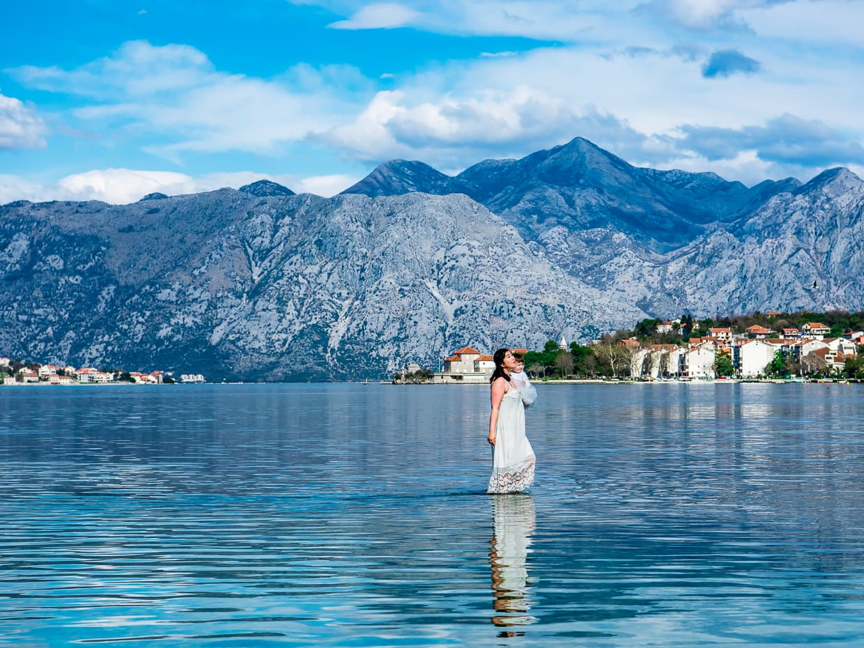 Walking water in the Bay of Kotor, Montenegro.