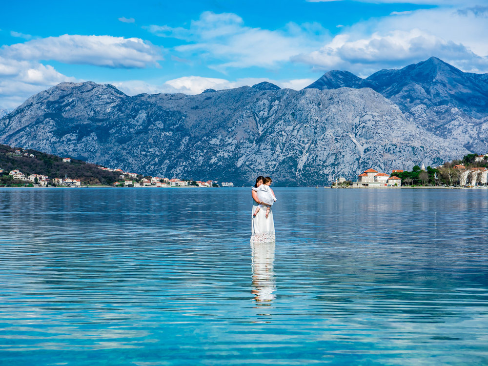 Standing in the water in the Bay of Kotor, Montenegro. Everything looked so blue.