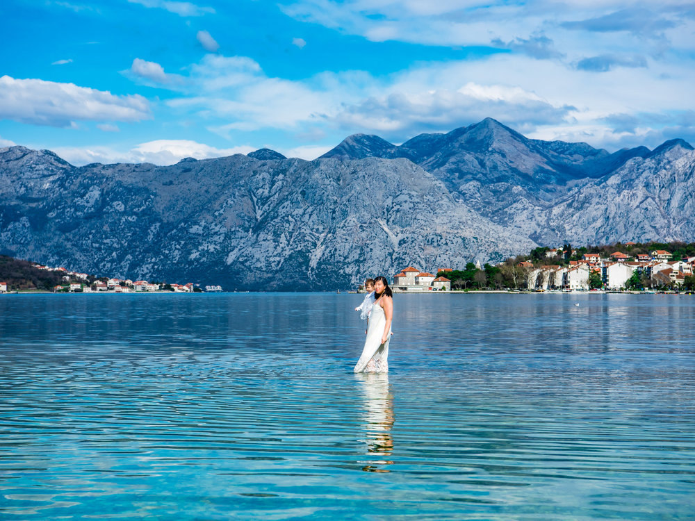 The Bay of Kotor in Montenegro has a place where you can walk out into the water.
