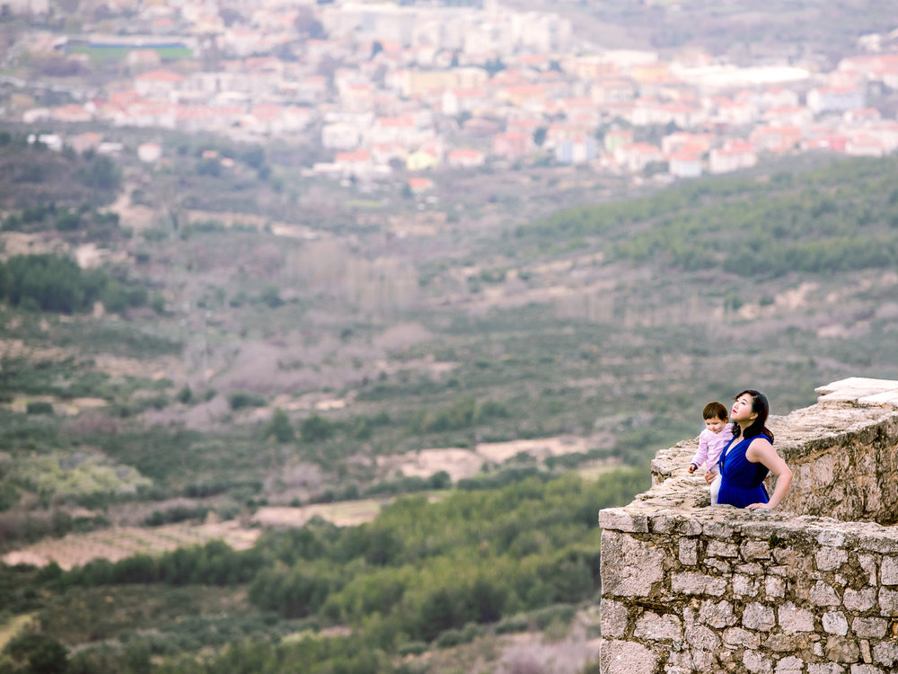 Enjoying the view from Klis Fortress high on a mountain near Split, Croatia.