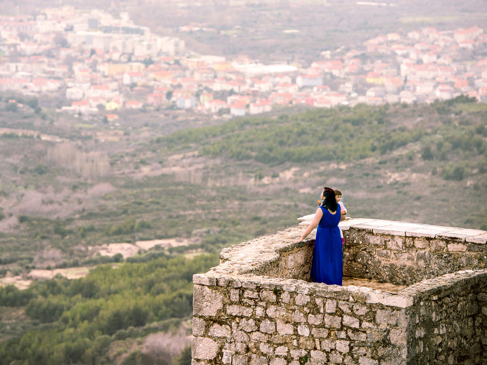 Looking out over Split, Croatia from the ruins of Klis Fortress.