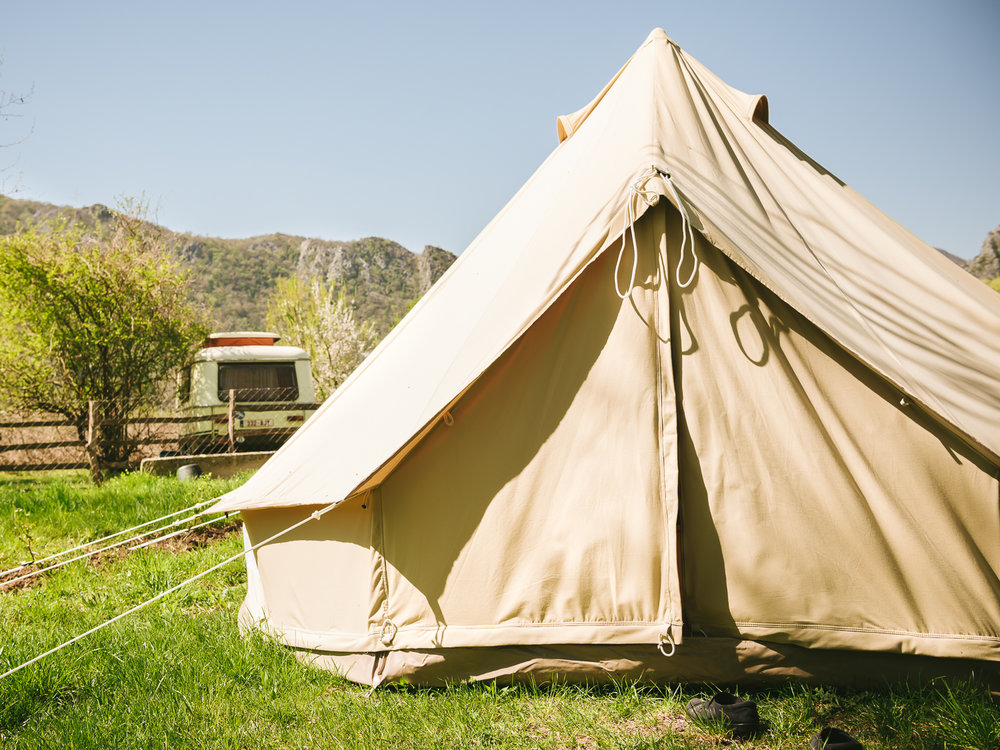 The glamping tent at the OK Corral Farm Stay in Montenegro.