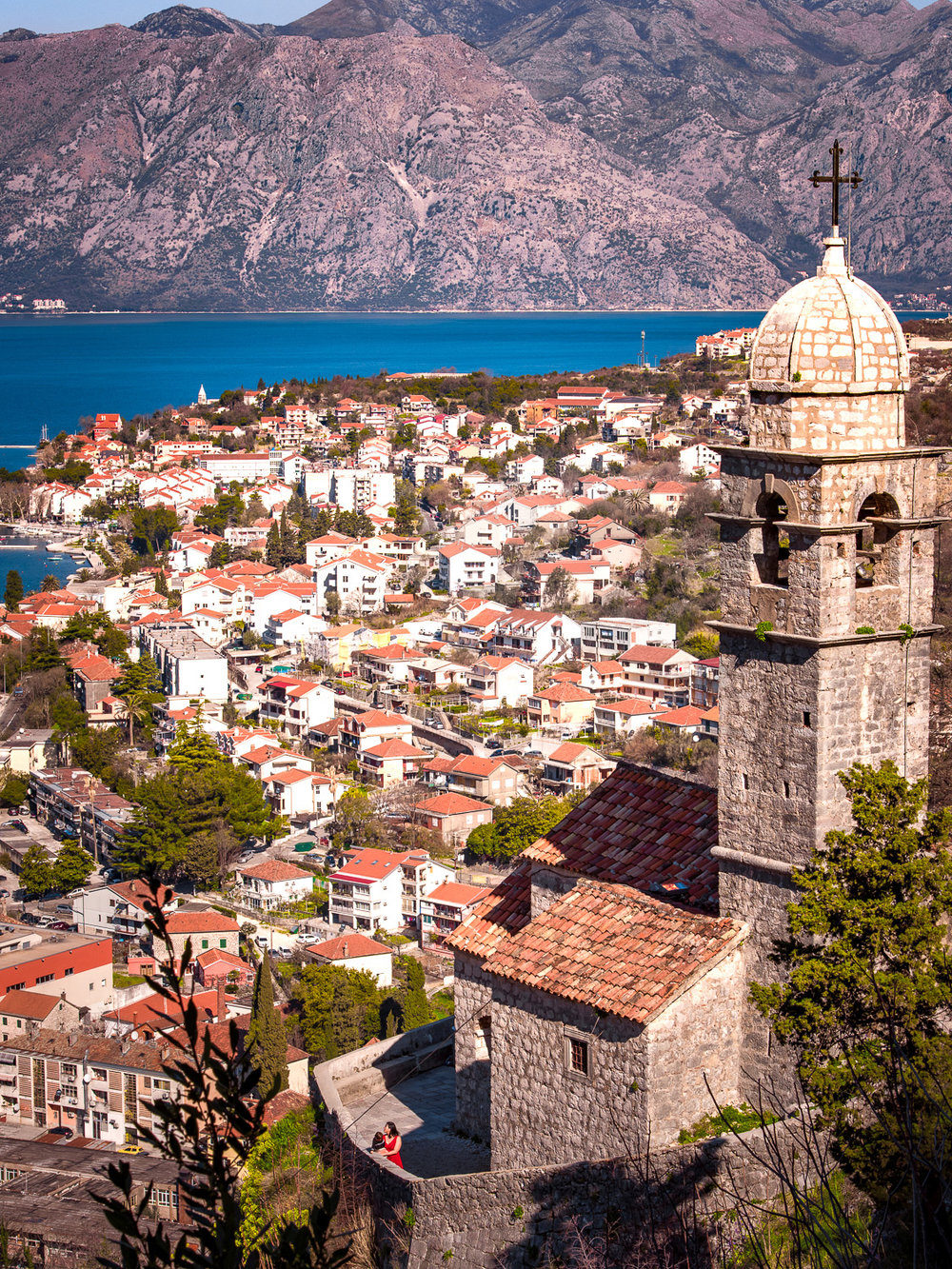 Our Lady of Remedy looking out over Kotor, Montenegro and the Bay of Kotor.