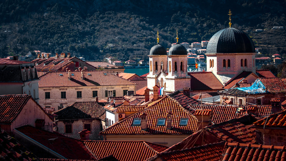 The beautiful rooftops and church steeples of Kotor, Montenegro.