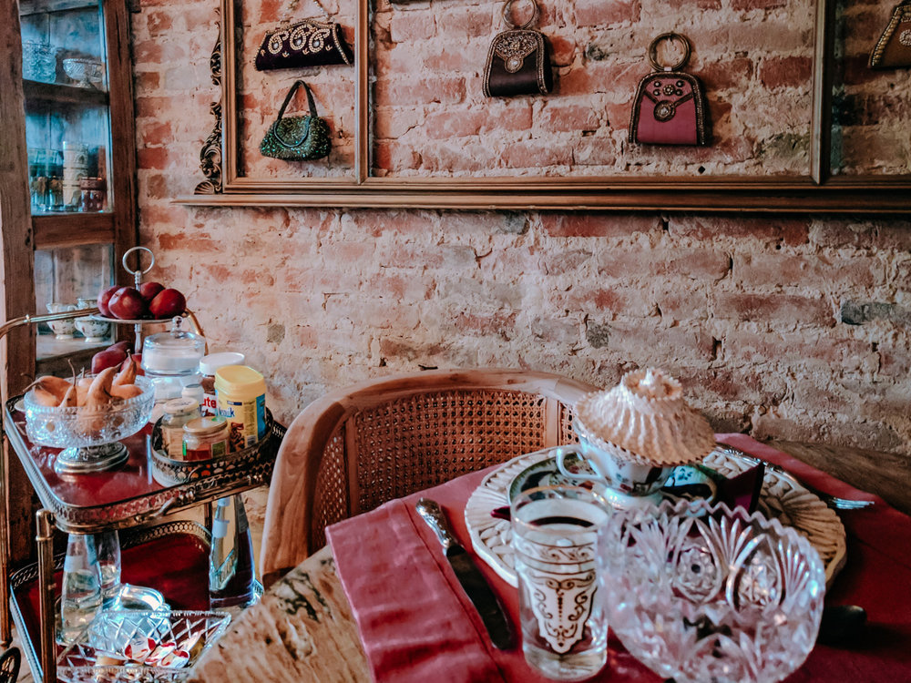Inside the dining room of Venice, Italy's Glamping Canonici Di San Marco.