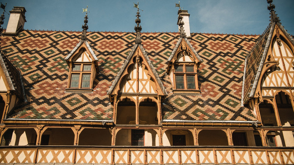 A closeup of the roofs of the hospices in Beaune, France.