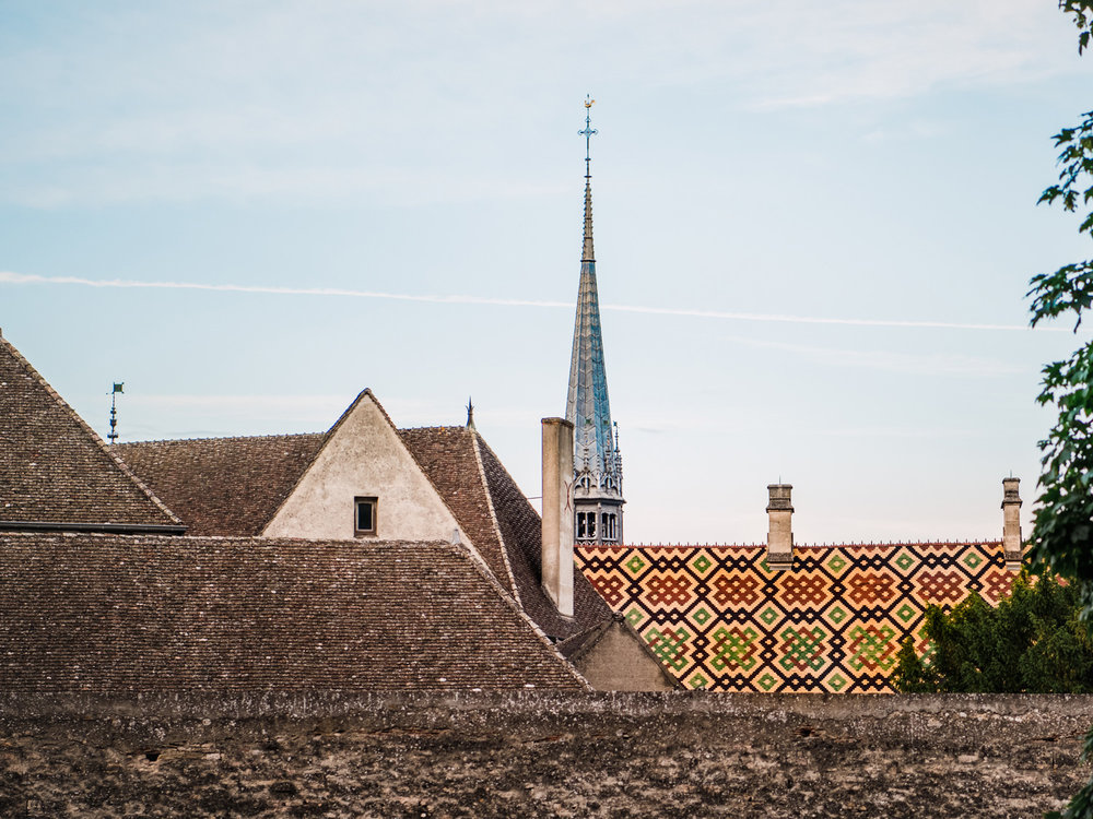 Beautiful, colorful rooftop over the city of Beaune, France.
