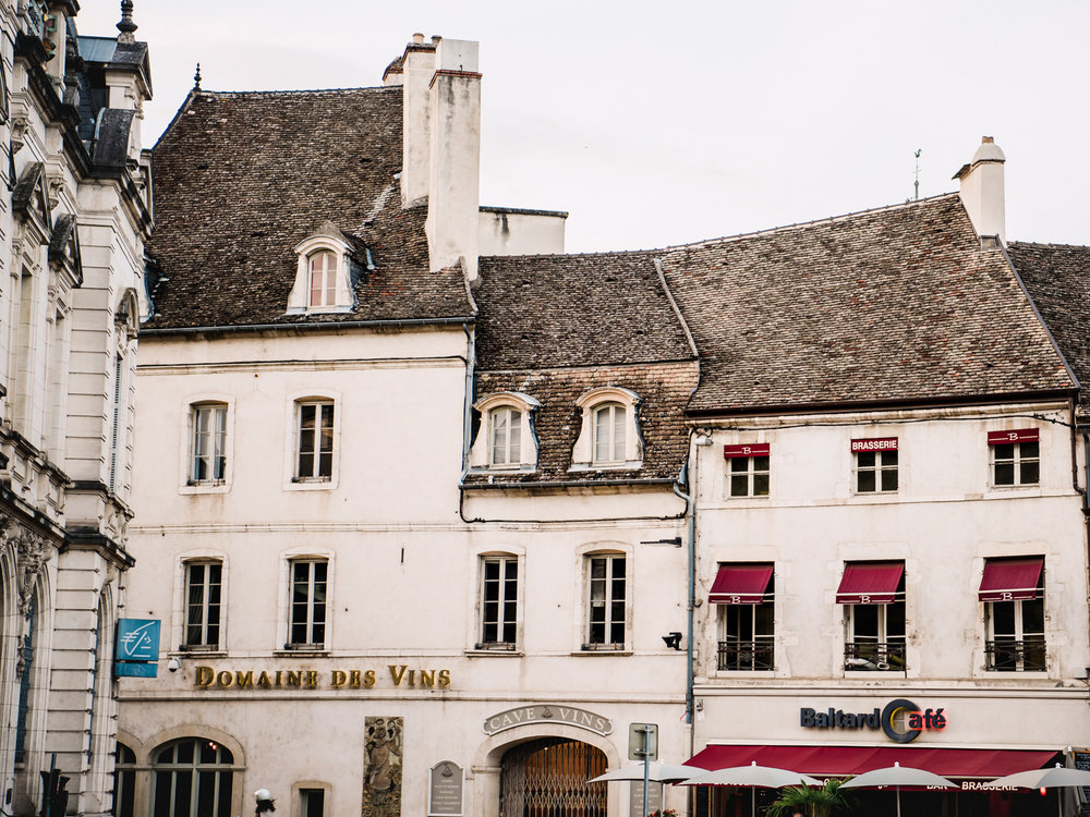 uneven rooftops in Beaune, France.