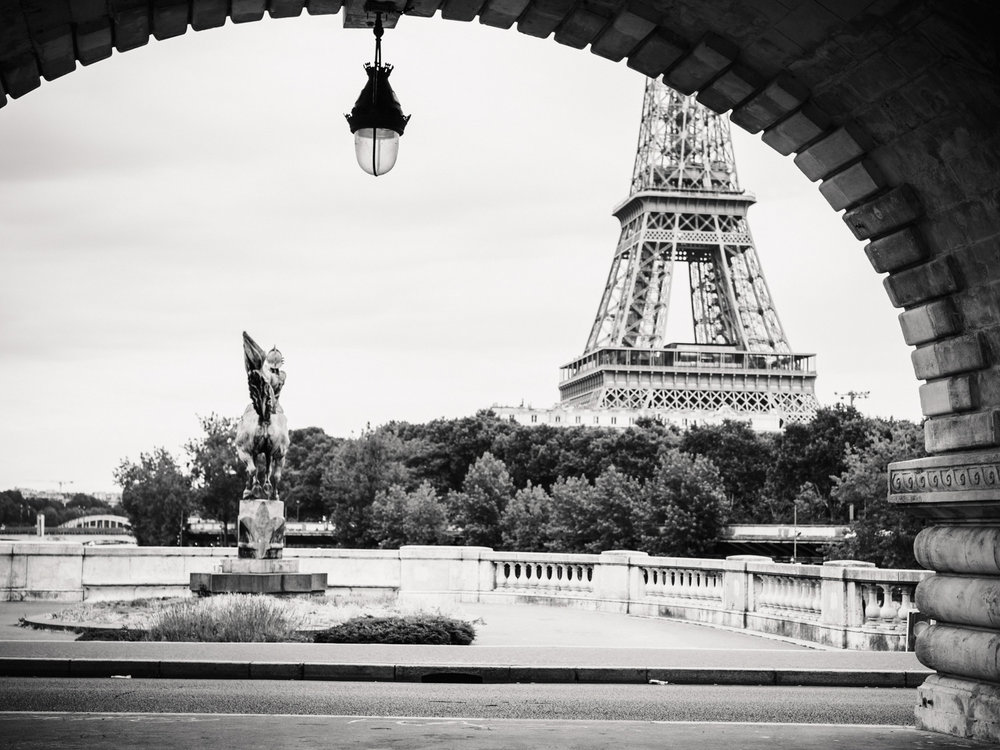 The view of the Eiffel Tower from the Bir Hakeim bridge.
