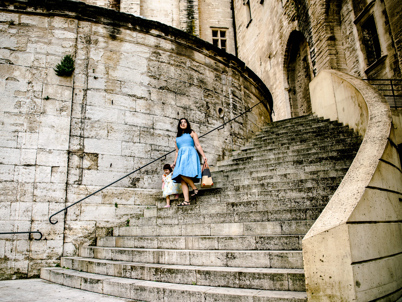 Descending the stairs of the Palais des papes in Avignon France. That place is big.