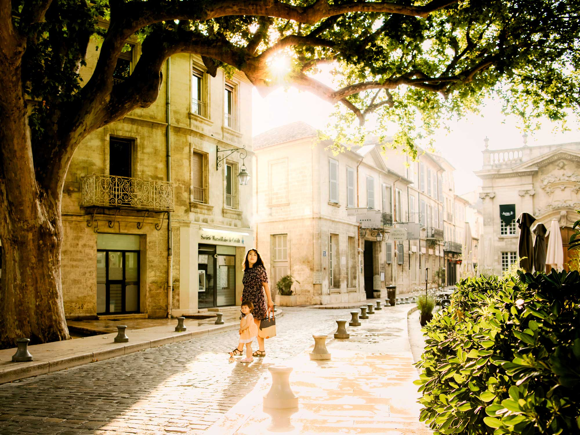 The beautiful streets of Avignon, France on a Spring morning.