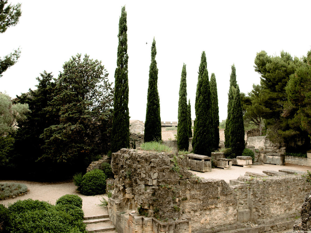 Trees and bushes and old stone walls in the gardens of Fort Saint-andre