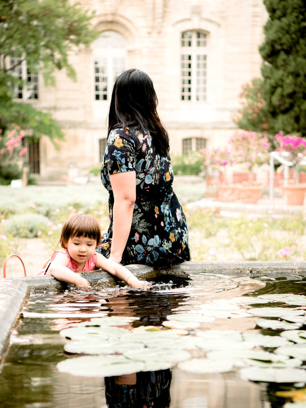 The garden of Fort Saint-Andre. Lisa loved splashing in the fountain pool.