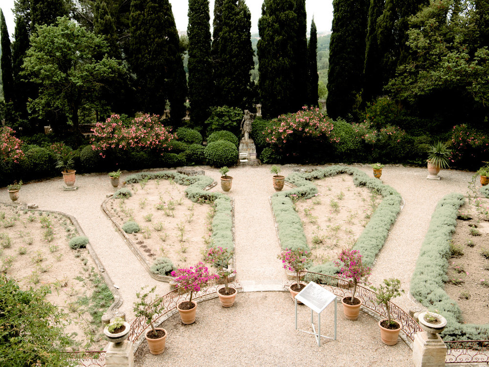 Well manicured French gardens inside fort saint-andre, an easy day trip from Avignon.