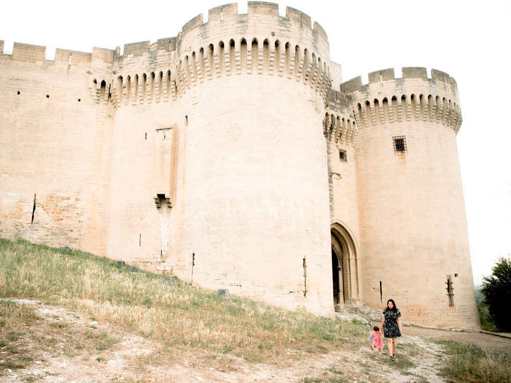 Dwarfed by the walls of Fort Saint-Andre outside Avignon in the French region of Provence.