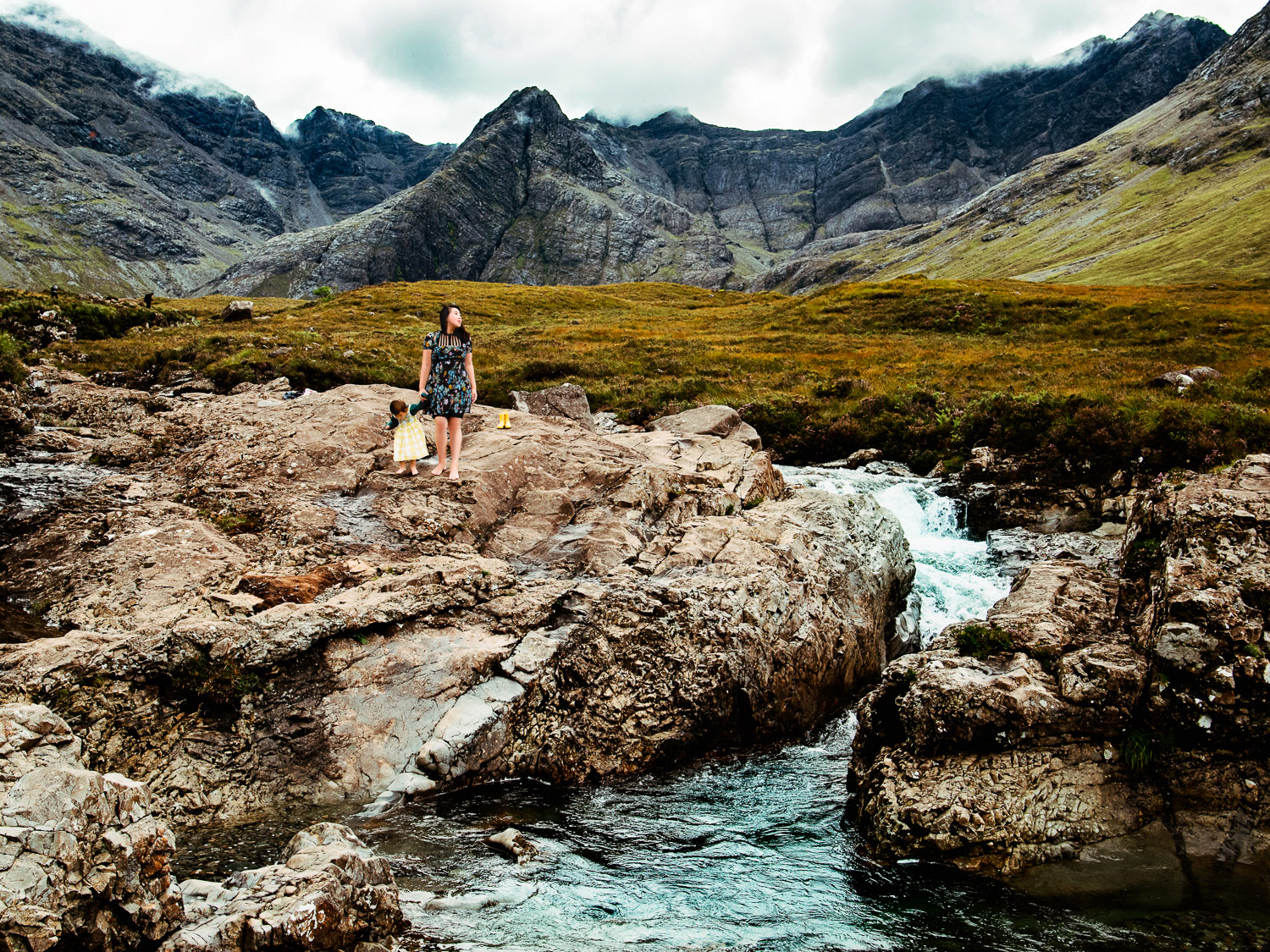 Exploring the rocks next to the isle of Skye's famous fairy pools.