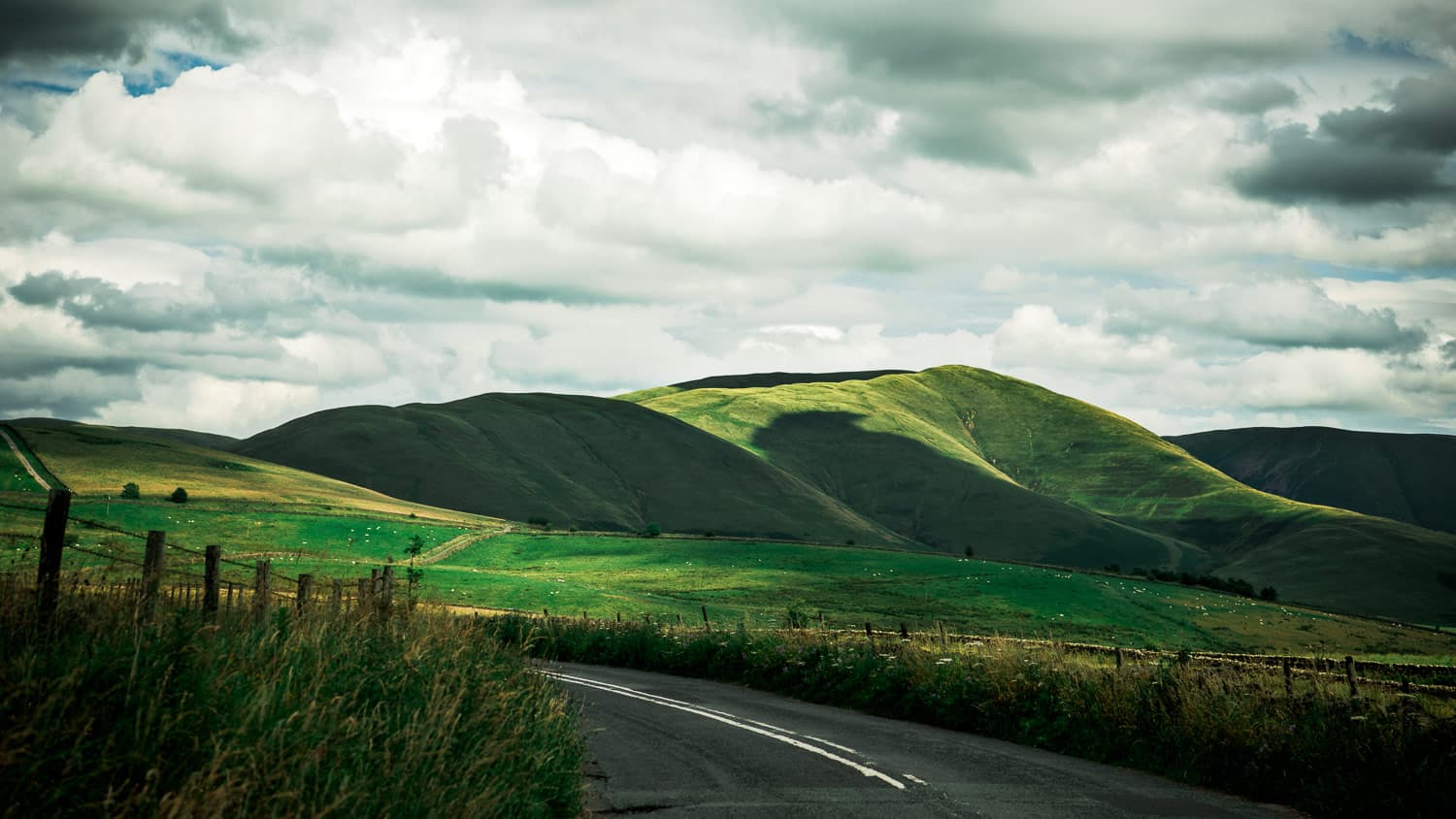 The hillsides of Cumbria on the way to the English Castle we stayed in on our Anniversary