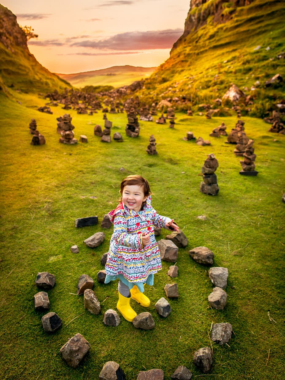 fairy circles and cairns on the isle of Skye at fairy glen.