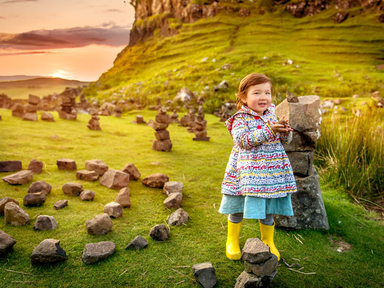 enjoying the fairy circle on the isle of Skye in Scotland.