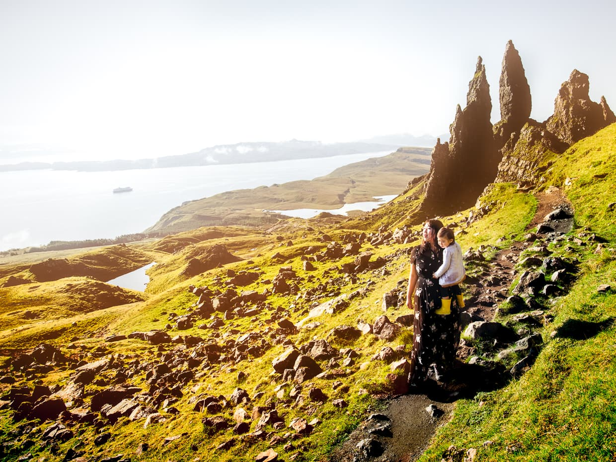 The Old man of storr rises above the sea on Scotland's isle of Skye