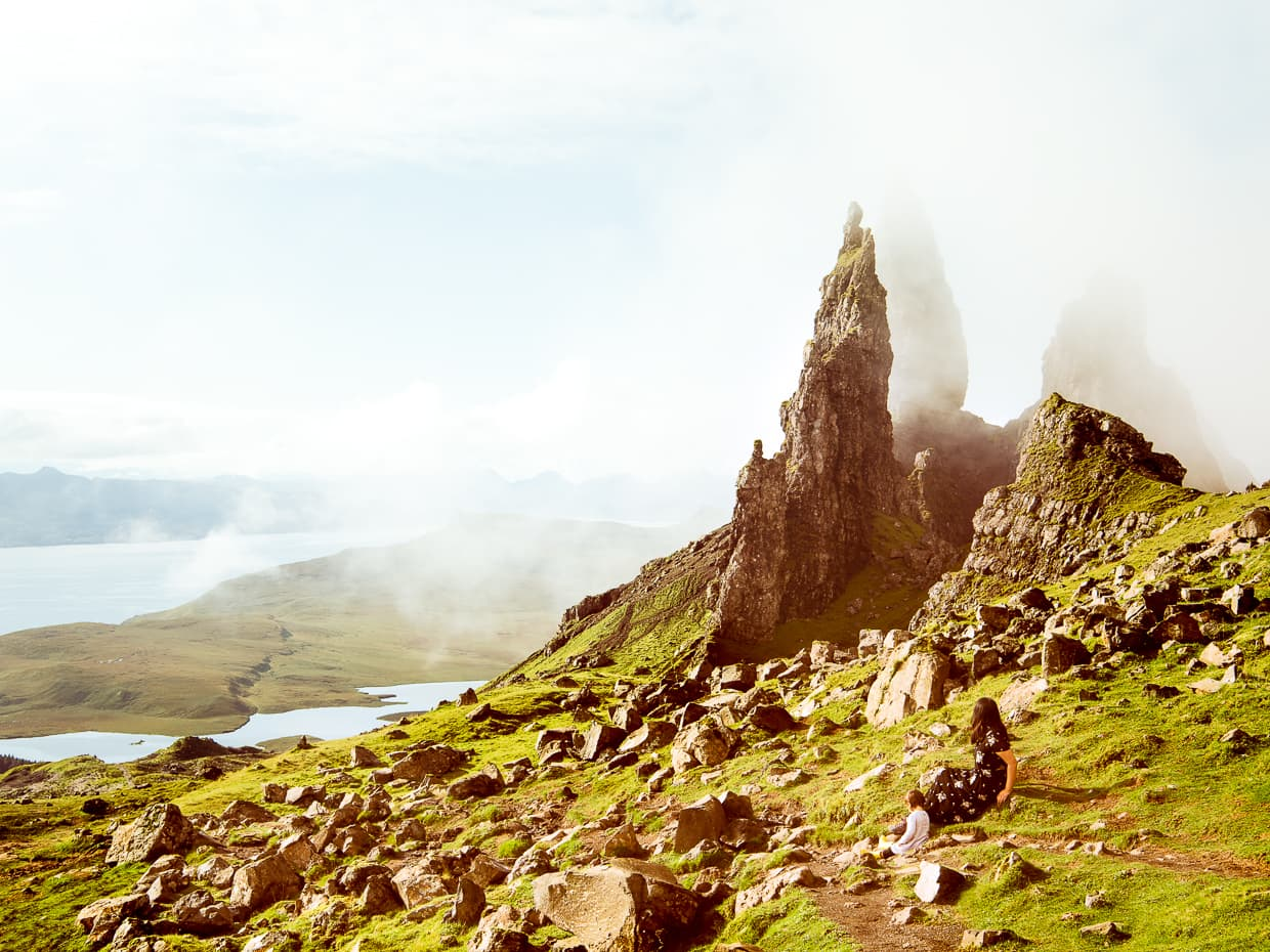 watching the clouds roll in around the old man of storr in Scotland.