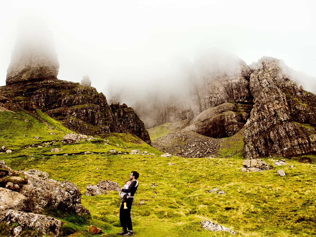 on the way down from the old man of storr, lisa naps in her ergobaby omni 360.
