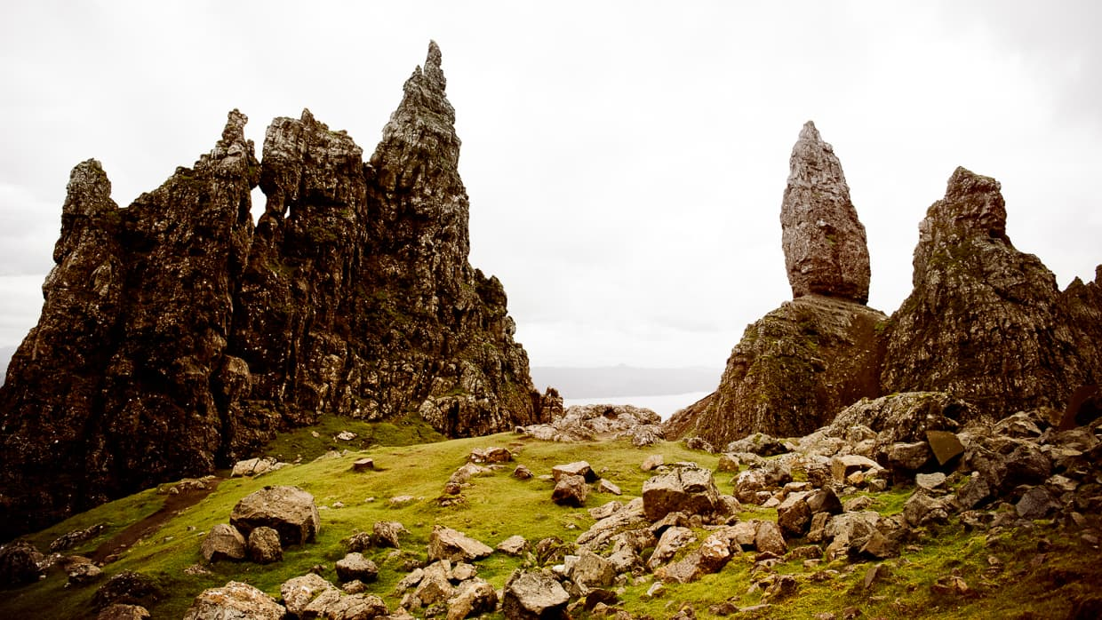 The Isle of Skye's Old man of storr, viewed from behind.