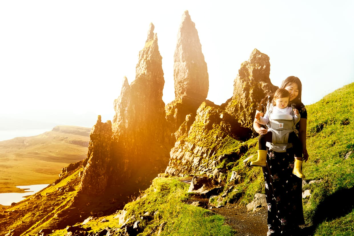 hiking in front of the old man of storr.