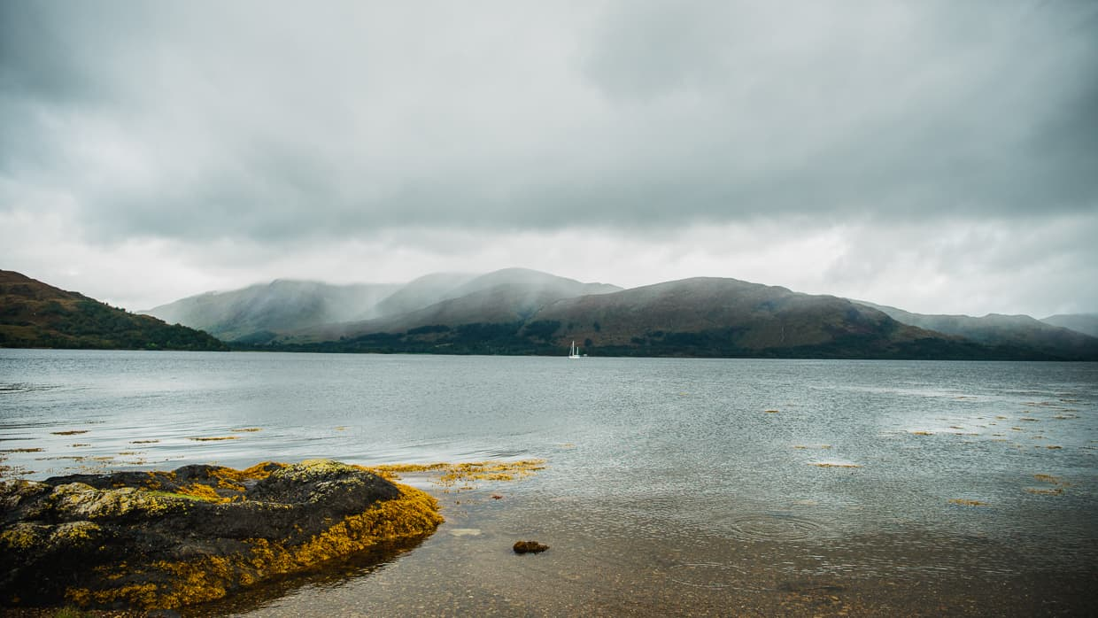 Cloudy skies over the loch near Fort William Scotland