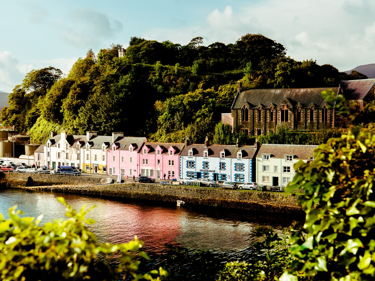 The famous colorful houses on the Portree waterfront