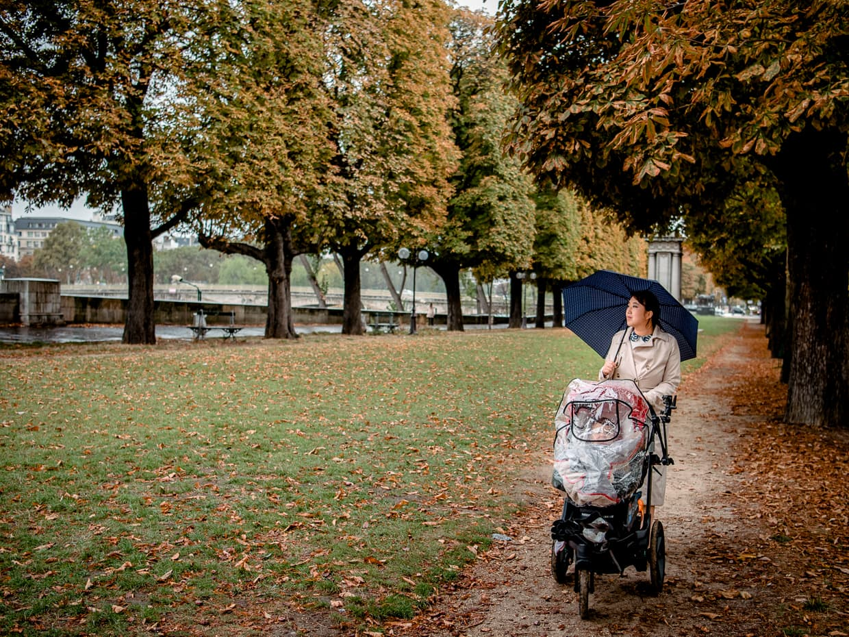 October in Paris is rainy, but with an umbrella it's still walkable.
