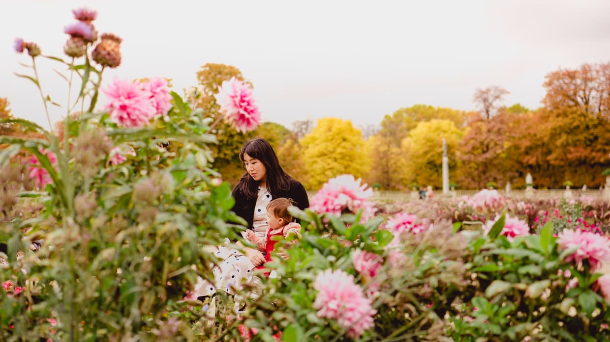 October in Paris: looking at flowers with beautiful autumn foliage in the background.