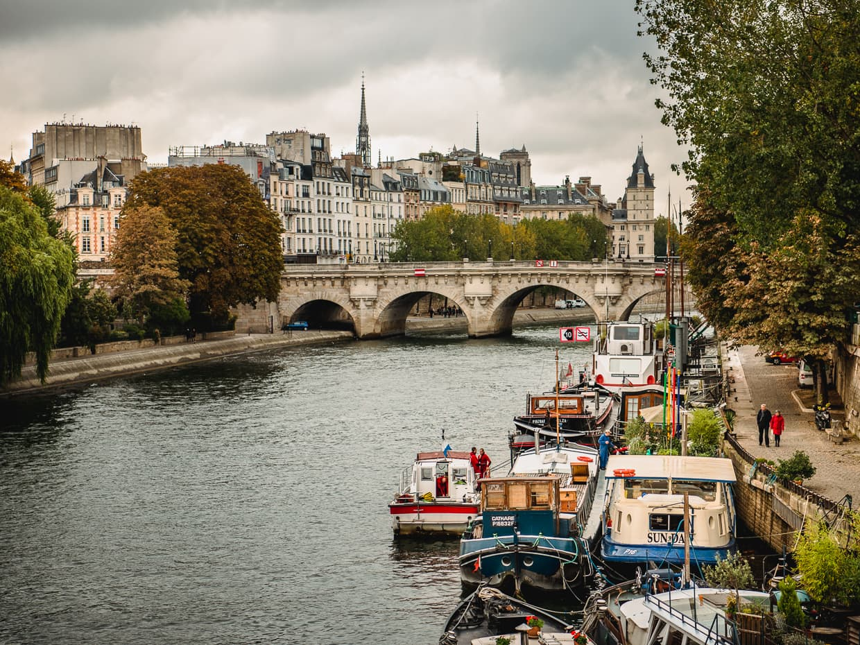 In October in Paris the leaves are barely starting to change along the banks of the Seine River