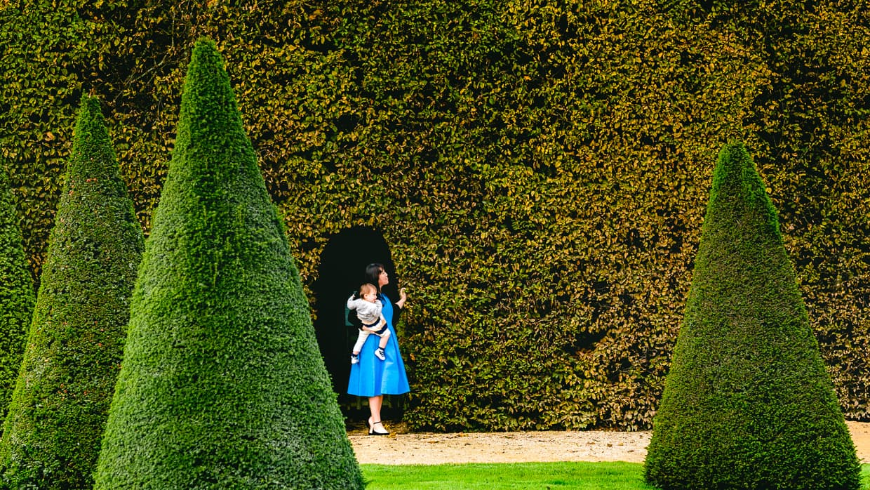 Exploring the Versailles gardens. In October, some of the leaves were greener than others.