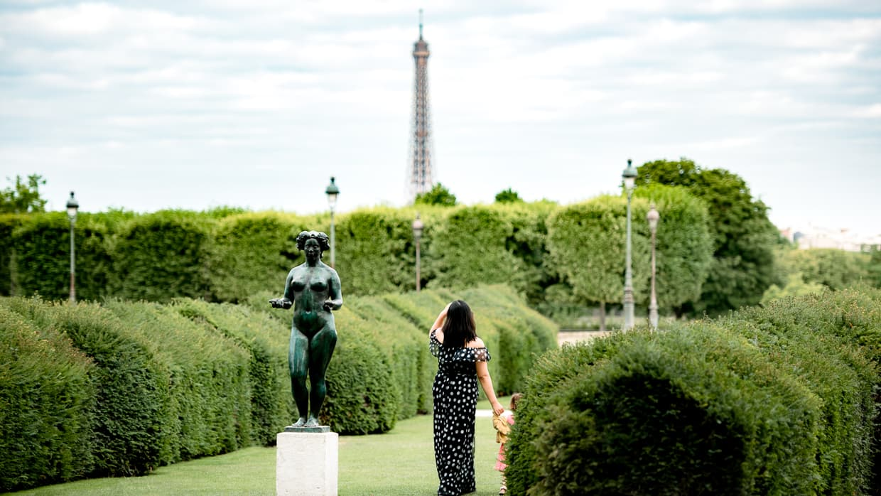 Jardin des Tuileries with the Eiffel Tower in the background.