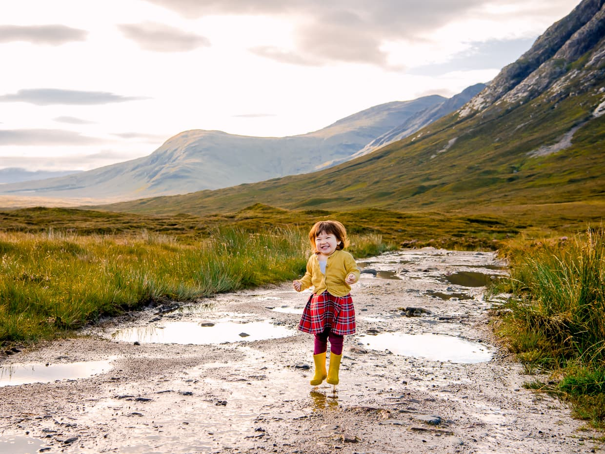 Jumping up and down in muddy puddles in scotland. Taken in Glencoe.