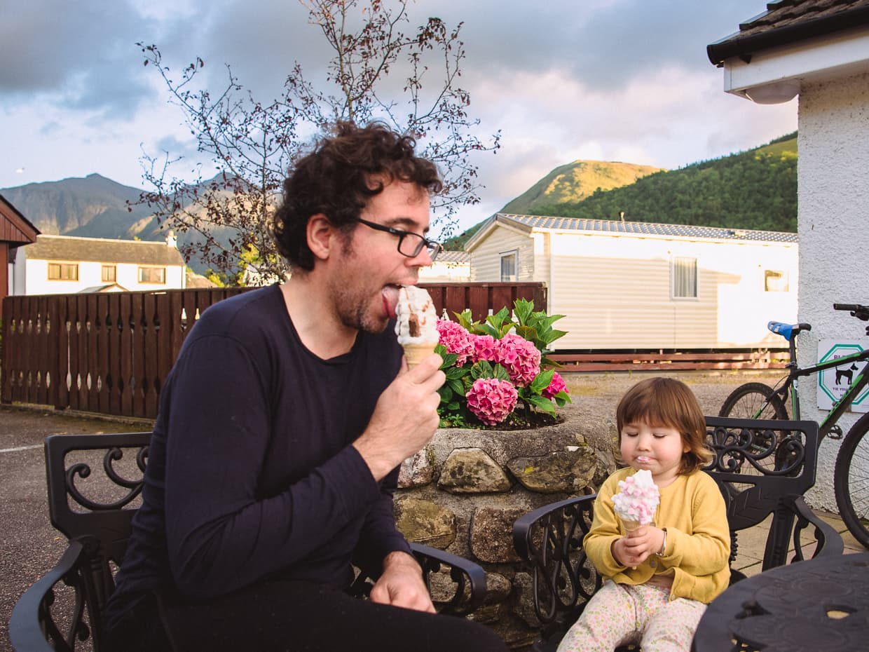 Eating ice cream in glencoe Scotland.